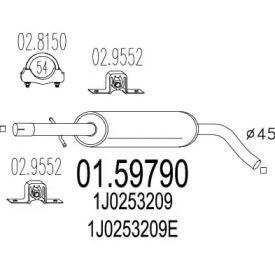 Резонатор на Фольксваген Гольф 'MTS 01.59790'.