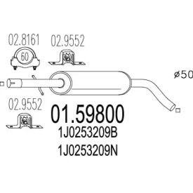 Резонатор на Фольксваген Гольф 'MTS 01.59800'.