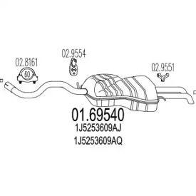 Глушитель на SEAT TOLEDO MTS 01.69540.