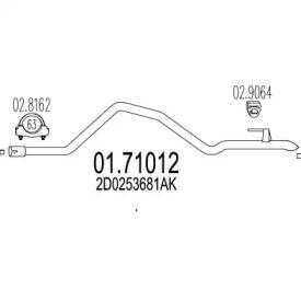 Приемная труба глушителя на Фольксваген Лт 'MTS 01.71012'.