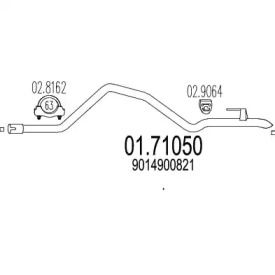 Приемная труба глушителя на Фольксваген Лт 'MTS 01.71050'.