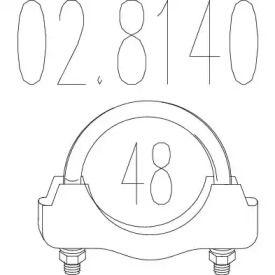 Хомут глушителя на VOLKSWAGEN GOLF 'MTS 02.8140'.