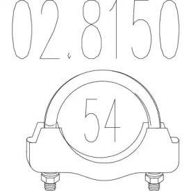 Хомут глушителя на SEAT LEON 'MTS 02.8150'.