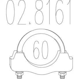 Хомут глушителя на VOLKSWAGEN GOLF 'MTS 02.8161'.