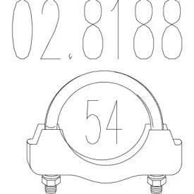 Хомут глушителя на VOLKSWAGEN GOLF 'MTS 02.8188'.