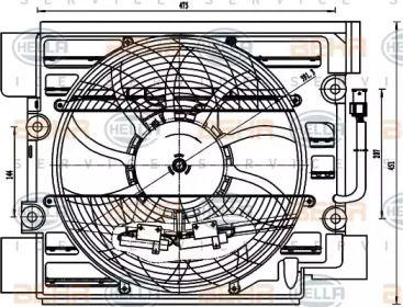 Вентилятор кондиціонера 'HELLA 8EW 351 040-101'.