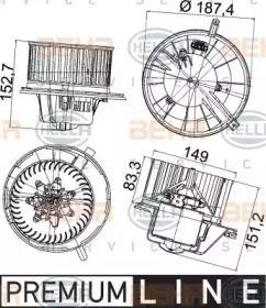 Вентилятор печки на Шкода Октавия А5 'HELLA 8EW 351 043-211'.