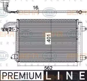 Радиатор кондиционера на VOLKSWAGEN JETTA 'HELLA 8FC 351 301-041'.