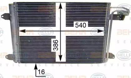 Радиатор кондиционера на VOLKSWAGEN JETTA 'HELLA 8FC 351 301-044'.