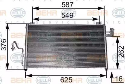 Радіатор кондиціонера на Мазда Премаси HELLA 8FC 351 301-091.