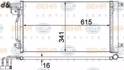Радіатор кондиціонера на SKODA RAPID 'HELLA 8FC 351 309-134'.