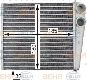 Радиатор печки на Шкода Октавия А5 'HELLA 8FH 351 315-781'.