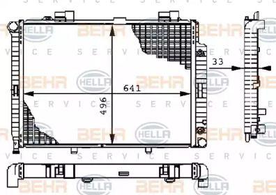 Радіатор охолодження двигуна на Mercedes-Benz W210 HELLA 8MK 376 710-231.