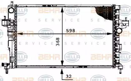 Радіатор охолодження двигуна 'HELLA 8MK 376 714-384'.
