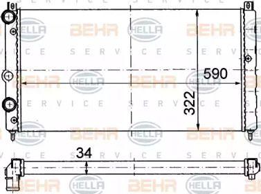 Радіатор охолодження двигуна на Шкода Феліція 'HELLA 8MK 376 714-594'.