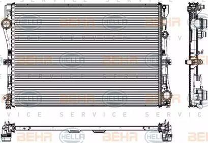 Радіатор охолодження двигуна на Mercedes-Benz W213 HELLA 8MK 376 908-091.
