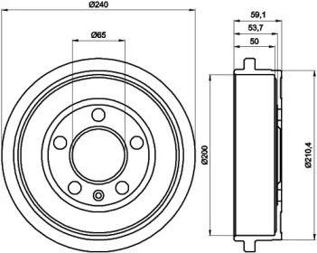 Тормозной барабан на AUDI A2 'HELLA 8DT 355 300-371'.