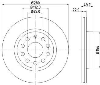 Вентилируемый тормозной диск 'HELLA 8DD 355 109-561'.