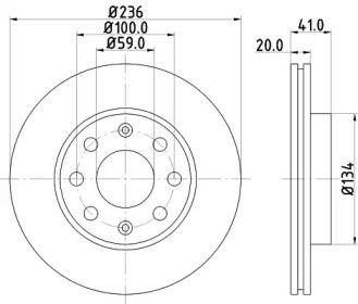 Вентилируемый тормозной диск 'HELLA 8DD 355 111-341'.