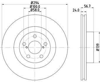 Вентилируемый тормозной диск на Субару ВРХ HELLA 8DD 355 112-051.