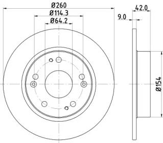 Тормозной диск на ACURA ILX 'HELLA 8DD 355 118-991'.