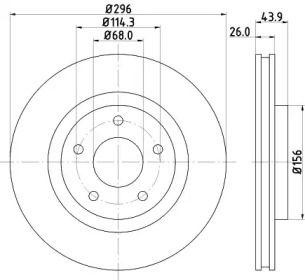 Вентилируемый тормозной диск на Ниссан Роуг 'HELLA 8DD 355 114-601'.