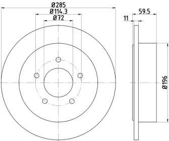Тормозной диск на Джип Гранд Чероки 'HELLA 8DD 355 114-801'.