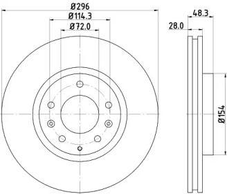 Вентилируемый тормозной диск на Мазда СХ7 'HELLA 8DD 355 115-781'.