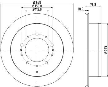 Вентилируемый тормозной диск на TOYOTA TUNDRA 'HELLA 8DD 355 116-331'.