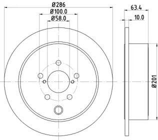 Тормозной диск на Субару ВРХ HELLA 8DD 355 116-421.