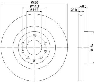 Вентилируемый тормозной диск на MAZDA CX-9 'HELLA 8DD 355 118-201'.