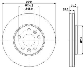Перфорированный тормозной диск на NISSAN NV300 'HELLA 8DD 355 122-601'.