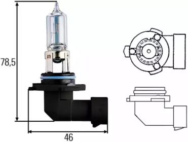 Лампа фары на CHRYSLER PT CRUISER 'HELLA 8GH 005 635-121'.