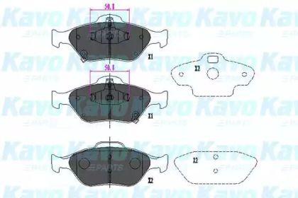 Гальмівні колодки 'KAVO PARTS KBP-9091'.
