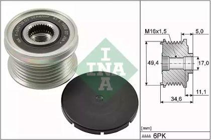 Муфта генератора на SEAT ALTEA 'INA 535 0155 10'.