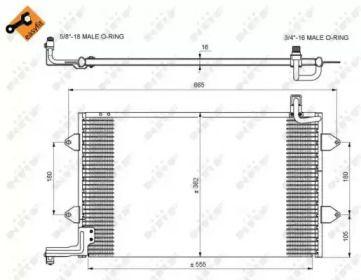 Радиатор кондиционера на VOLKSWAGEN GOLF 'NRF 35584'.
