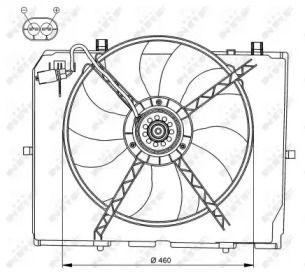 Вентилятор охолодження радіатора на Мерседес W210 NRF 47066.