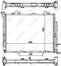 Радіатор охолодження двигуна на Мерседес W210 NRF 53784.