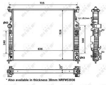 Радіатор охолодження двигуна на Мерседес Гл Клас  NRF 56074.