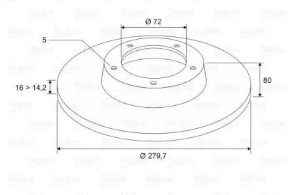 Задний тормозной диск 'VALEO 197023'.