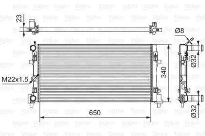 Алюмінієвий радіатор охолодження двигуна на Шкода Рапід 'VALEO 701522'.
