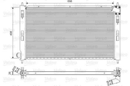Алюмінієвий радіатор охолодження двигуна на Мітсубісі АСХ 'VALEO 701577'.