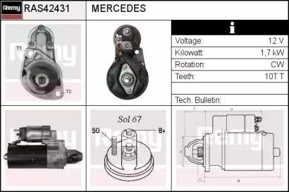 Стартер на Мерседес W212 REMY RAS42431.