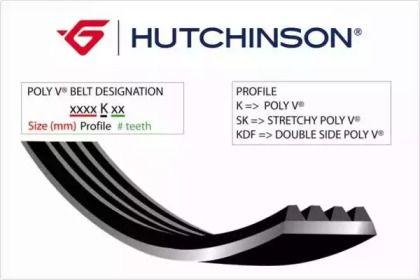 Поликлиновой ремень на Пежо 107 'HUTCHINSON 805 K 6'.
