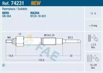 Свічка розжарювання на MAZDA PREMACY 'FAE 74231'.