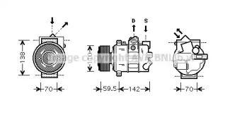 Компрессор кондиционера на Сеат Леон 'AVA VWAK220'.
