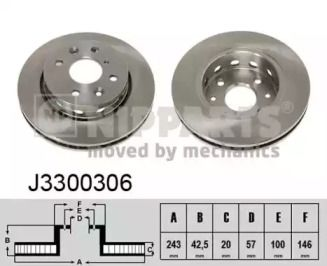 Вентилируемый тормозной диск 'NIPPARTS J3300306'.