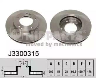 Вентилируемый тормозной диск на Киа Соренто 'NIPPARTS J3300315'.