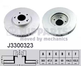 Вентилируемый тормозной диск на Киа Опирус 'NIPPARTS J3300323'.