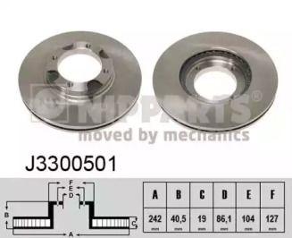 Вентилируемый тормозной диск на Хендай Акцент 'NIPPARTS J3300501'.